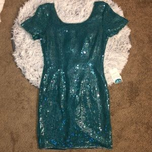 NWT STYLEWORKS Handcrafted Teal Sequined Dress